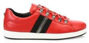 Balmain Men's Lace-Up Low-Top Sneakers - Rouge Noir - Size 44 (11)