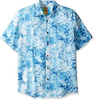 Margaritaville Men's Short Sleeve Aquatic Floral Print Shirt