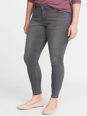 Old Navy High-Rise Secret-Slim Pockets Plus-Size Released-Hem Gray Rockstar Jeans
