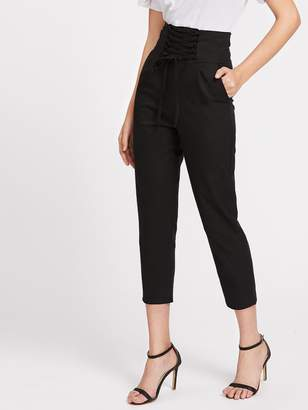 Shein Lace Up Empire Cropped Pants