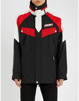 Givenchy Colour-blocked nylon hooded coat