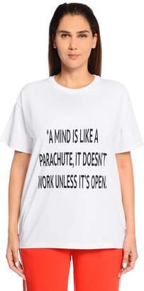 Marina Rinaldi Quote Printed Cotton Jersey T-Shirt