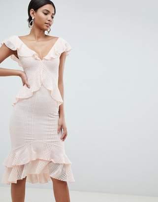 Asos Design DESIGN Pretty Lace Ruffle Midi Dress