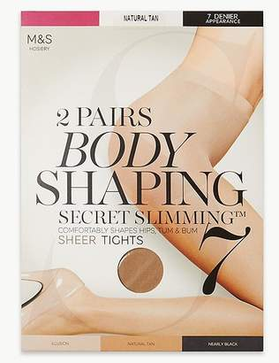 "Marks and Spencer 2 Pair Pack 7 Denier Secret Slimmingâ""¢ Sheer Body Shaper Tights"