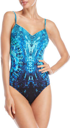 Gottex Blue Printed V-Neck One-Piece Swimsuit