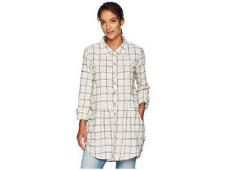 Mod-o-doc Windowpane Flannel Plaid Long Sleeve Button Front Shirt with Pockets