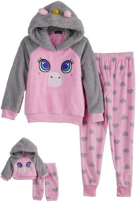 Cuddl Duds Girls 4-12 Unicorn Hooded Top & Heart Fleece Bottoms Pajama Set & Matching Doll Set