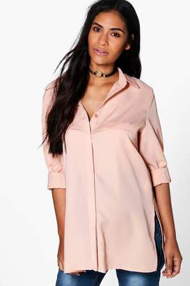 boohoo Maternity Lillian Longline Side Split Shirt