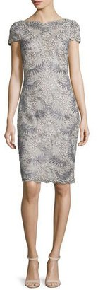 Tadashi Shoji Cap-Sleeve Floral Embroidered Sheath Dress, Light Pearl $390 thestylecure.com