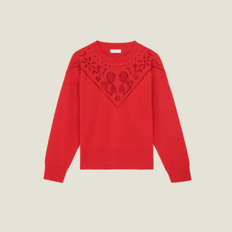 Sandro High-Neck Sweater With Front Panel