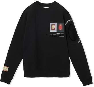 Burberry Cut-out Detail Montage Print Cotton Sweatshirt