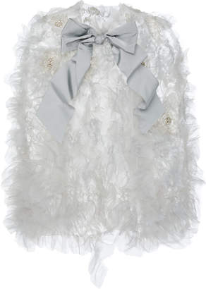 Marchesa Embellished Bow-Detailed Organza Cape