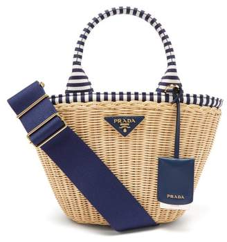 a5200a93170b4b Prada Wicker And Canvas Basket Bag - Womens - Blue Multi