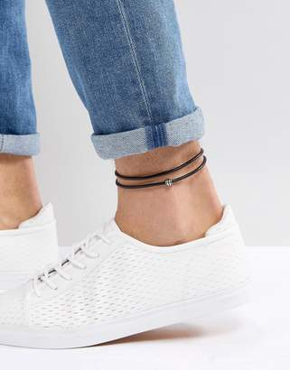 Asos DESIGN leather anklet in black