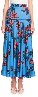 Roksanda Floral-Print Silk Fluted Long Skirt