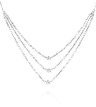 Ef Collection 14K White Gold Diamond Bezel Triple Layer Necklace - 0.14 ctw