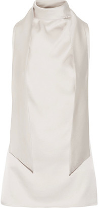 TOM FORD - Pussy-bow Cutout Silk-satin Top - Beige $1,890 thestylecure.com