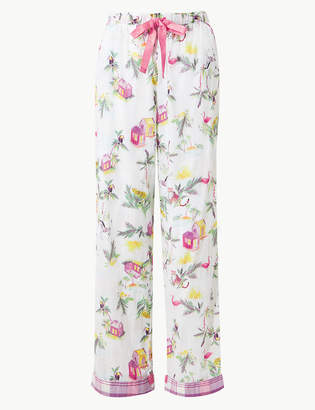 af87dacaeb1b M&S CollectionMarks and Spencer Pure Cotton Printed Pyjama Bottoms