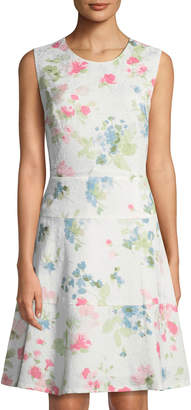 Karl Lagerfeld Paris Floral Jacquard Sleeveless Fit-and-Flare Dress