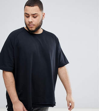 Jacamo Short Sleeve Sweatshirt In Black With Raw Edge