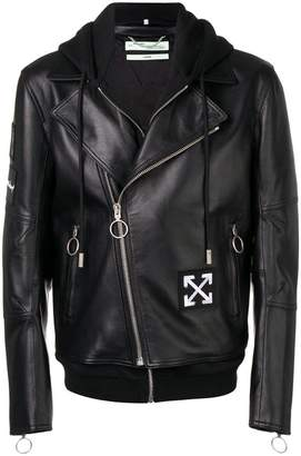 Off-White hooded biker jacket