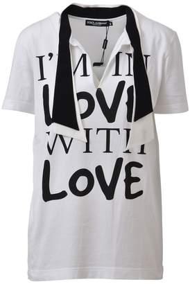 Dolce & Gabbana White T-shirt With Scarf Collar