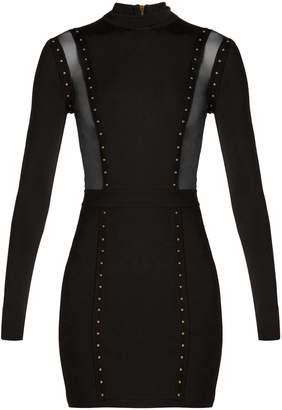 Balmain Mesh-insert studded body-con dress