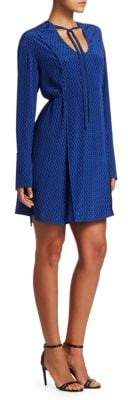 Proenza Schouler Women's Silk Tie-Neck A-Line Dress - Blue - Size 6
