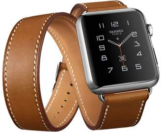 Beautea Leather Double Tour Apple Watch Band with Adapter Metal Clasp For iwatch 38mm/