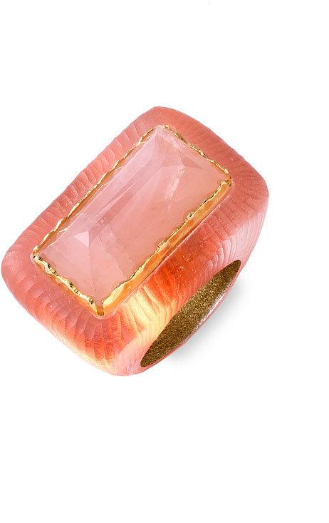 Alexis Bittar Medium Rose Quartz Baguette Ring