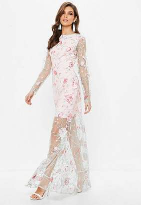 Missguided Nude Embroidered Lace Long Sleeve Maxi Dress