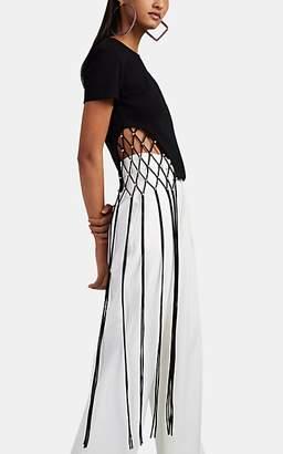 Area Women's Crystal-Embellished Cotton Crop T-Shirt - Black