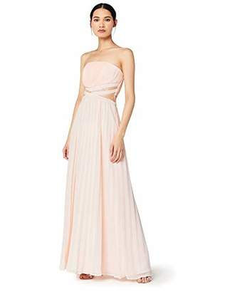 TRUTH & FABLE Bm Bling Halter Pleat Maxi Party Dress, Pink), 8 (size: X-Small)