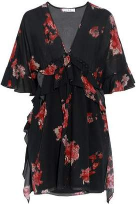 IRO Button-Detailed Ruffled Floral-Print Voile Mini Dress