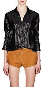Saint Laurent Women's Striped Silk-Blend Lamé Blouse - Black