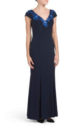 Sleeveless Deep V-neck Gown