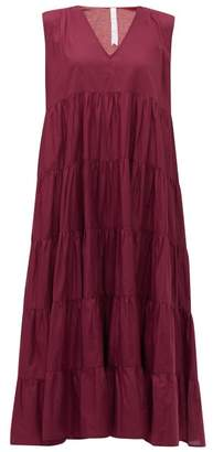 Merlette New York Santa Elena Tiered Cotton Lawn Midi Dress - Womens - Burgundy