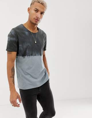 Asos DESIGN relaxed t-shirt with roll sleeve and raw scoop neck with dip dye wash