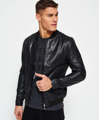 Superdry Washed Leather Bomber Jacket