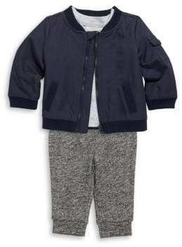 Baby Boy's Three-Piece Bomber Jacket, Top & Knit Pants Set