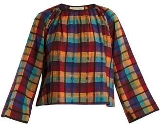 Ace&Jig Farrah gathered-neck checked cotton blouse