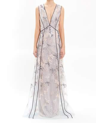J. Mendel Mint Sleeveless Embroidered Low V-Neck Gown