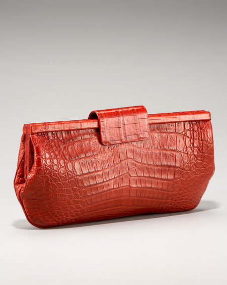 Nancy Gonzalez Shiny Frame Croc Clutch