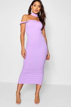 boohoo Tassel Detail Bardot Midi Dress