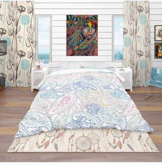 Design Art Designart 'Indian Paisley Pattern' Bohemian and Eclectic Duvet Cover Set - Twin Bedding
