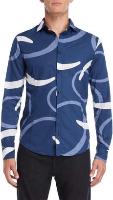 Armani Jeans Blue Slim Fit Contrast Print Shirt