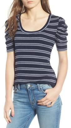 Hinge Stripe Ribbed Puff Sleeve Top