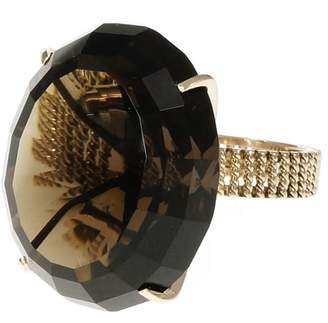 14K Yellow Gold Smoky Quartz Ring Size 5.5