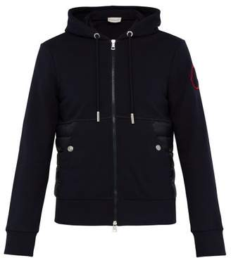Moncler Down And Cotton Zip Up Hooded Track Jacket - Mens - Navy