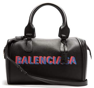 Monday Logo Print Leather Holdall - Mens - Black